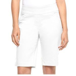 Women's DANA BUCHMAN White PULL-On Bermuda Shorts